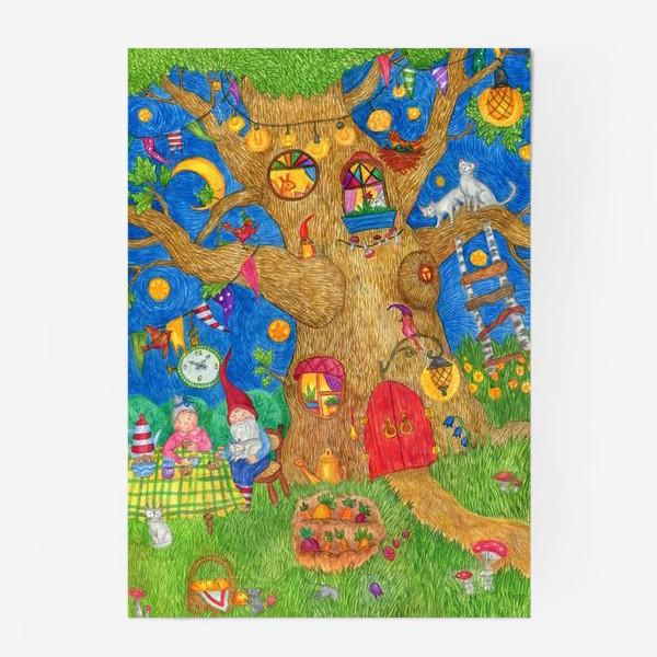 Постер «Уютный вечер семьи гномов»