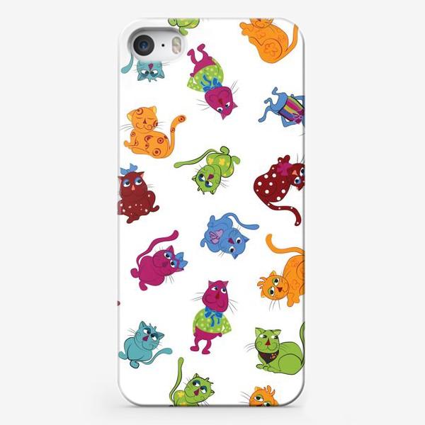 Чехол iPhone «Разноцветные коты»