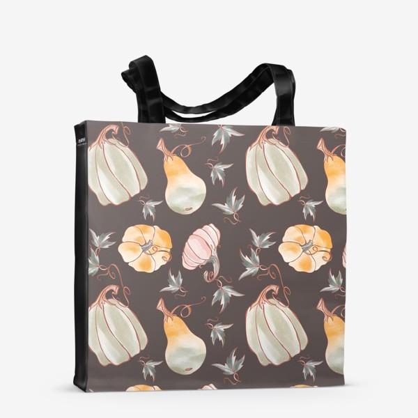 Сумка-шоппер «Сказочные тыквы паттерн в пастельных тонах на темном»