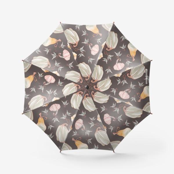 Зонт «Сказочные тыквы паттерн в пастельных тонах на темном»