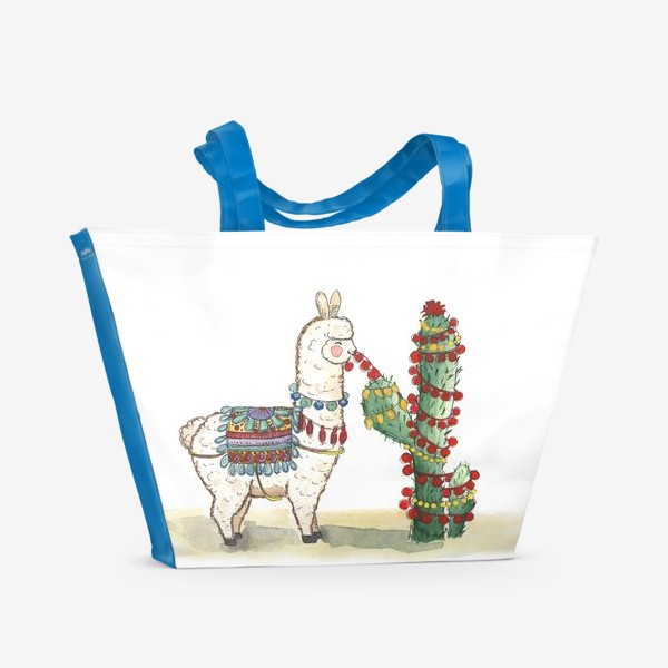 Пляжная сумка «Лама и Кактус»