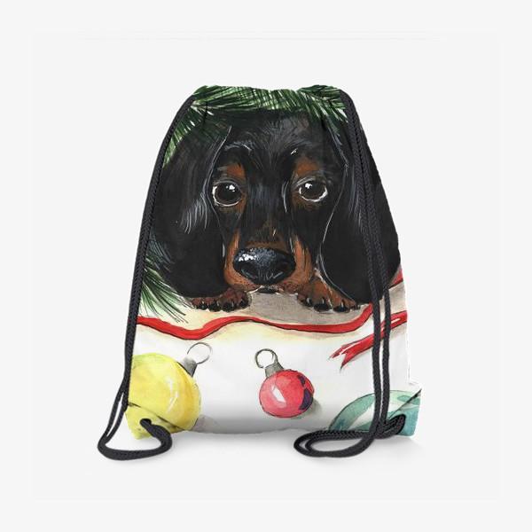 Рюкзак «Такса под ёлкой на Новый Год»