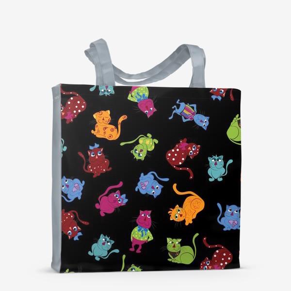 Сумка-шоппер «Разноцветные коты на черном фоне»