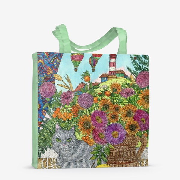 Сумка-шоппер «Кошка, букет цветов и воздушные шары»