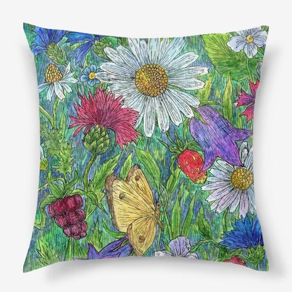 Подушка «Полевые цветы и ягоды»