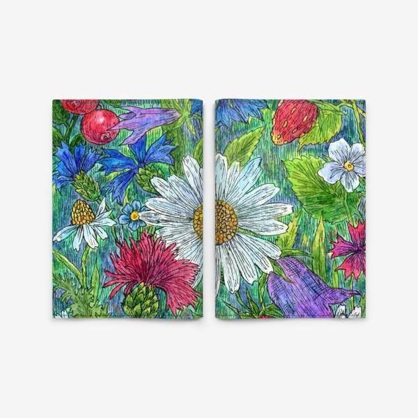 Обложка для паспорта «Полевые цветы и ягоды»