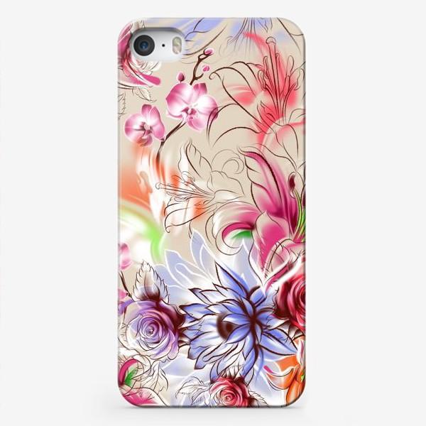 Чехол iPhone «Бесшовный паттерн с лилиями, орхидеями и розами»