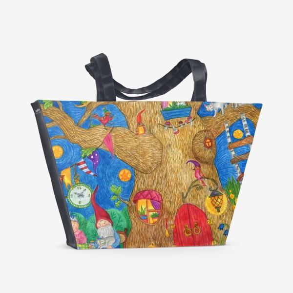 Пляжная сумка «Уютный вечер семьи гномов»