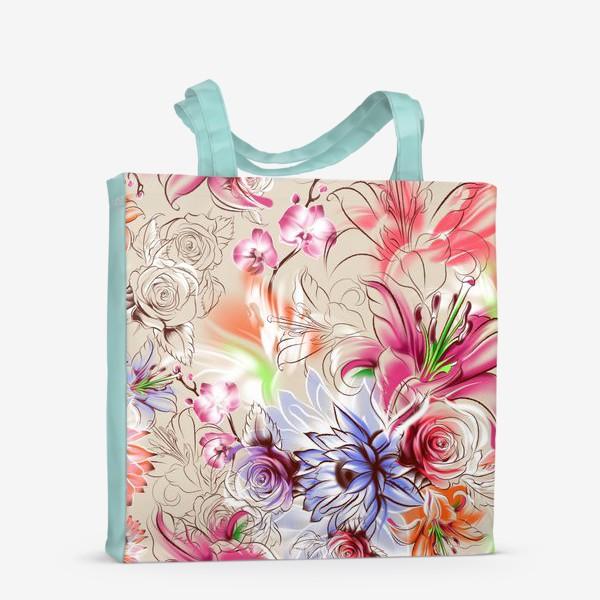 Сумка-шоппер «Бесшовный паттерн с лилиями, орхидеями и розами»