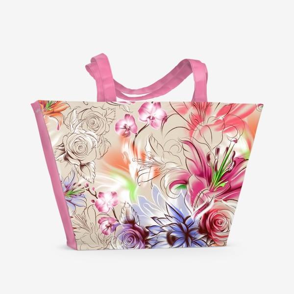 Пляжная сумка «Бесшовный паттерн с лилиями, орхидеями и розами»
