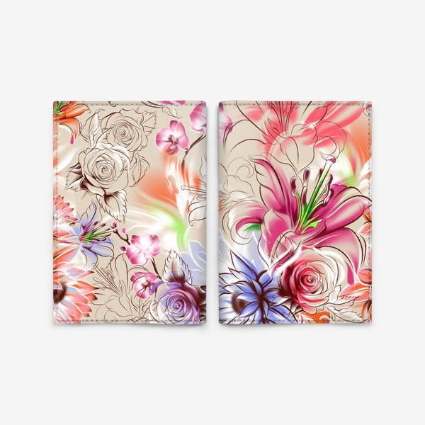 Обложка для паспорта «Бесшовный паттерн с лилиями, орхидеями и розами»