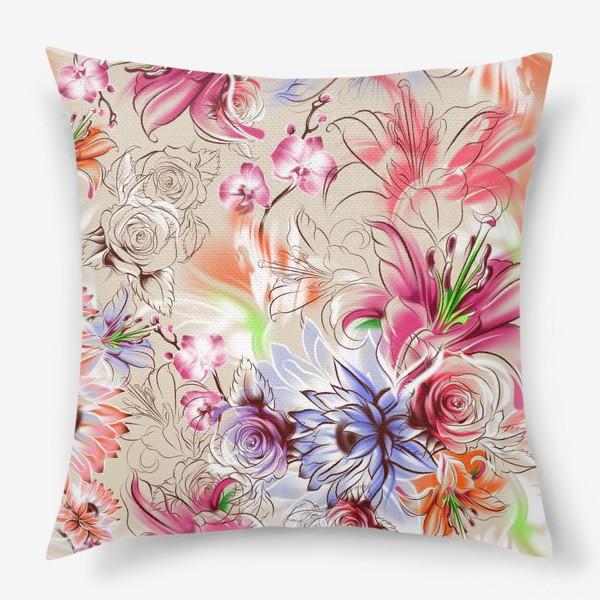 Подушка «Бесшовный паттерн с лилиями, орхидеями и розами»