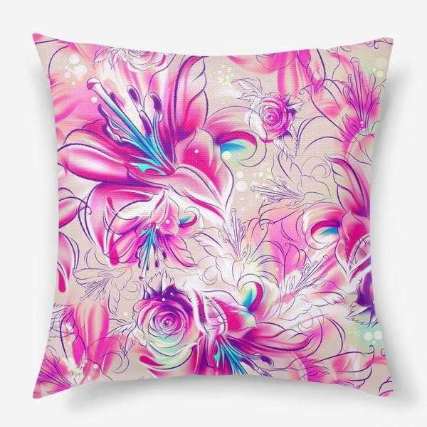 Подушка «Бесшовный паттерн с лилиями»