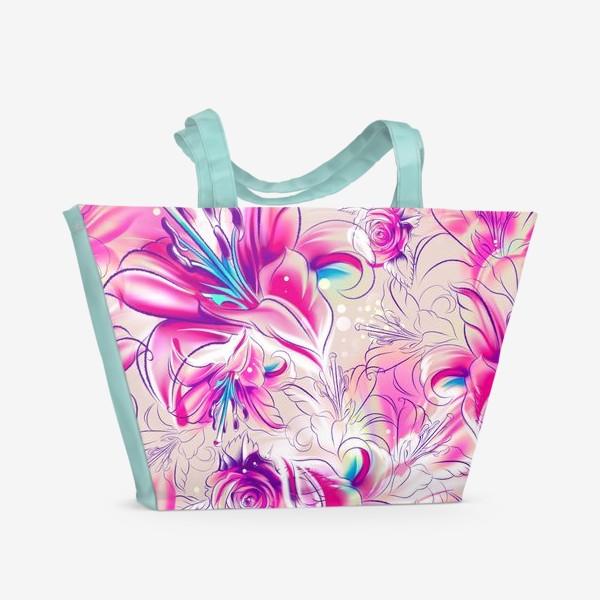 Пляжная сумка «Бесшовный паттерн с лилиями»