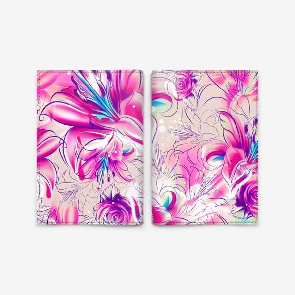 Обложка для паспорта «Бесшовный паттерн с лилиями»