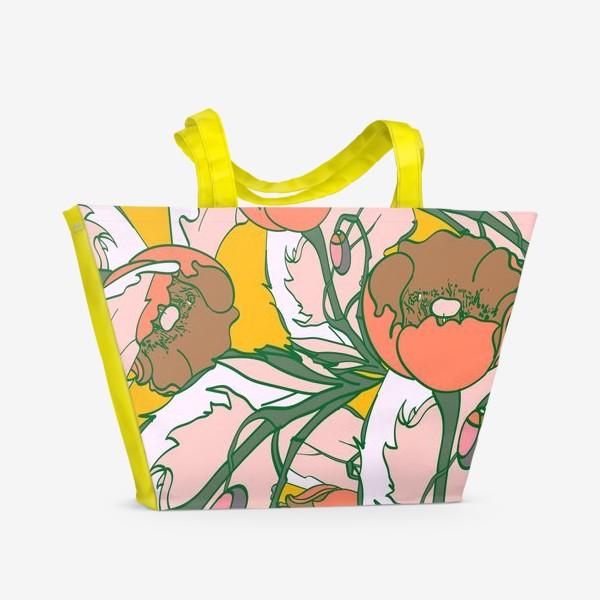 Пляжная сумка «Бесшовный паттерн с маками»