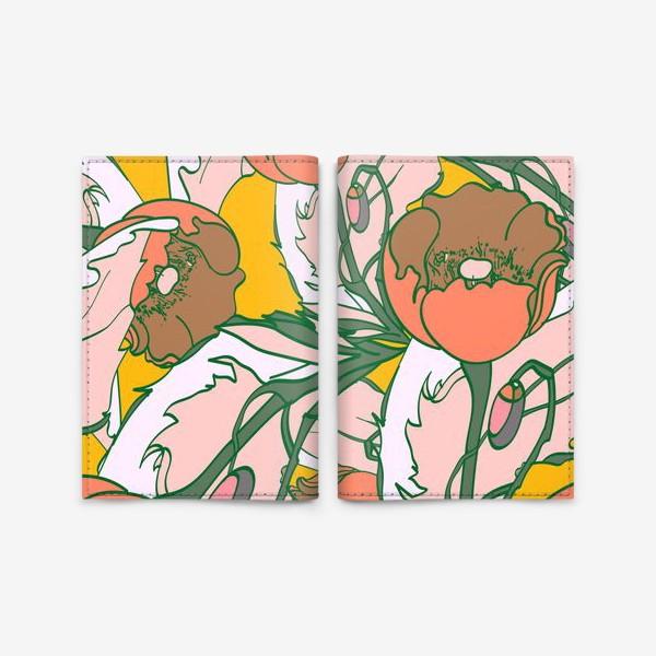 Обложка для паспорта «Бесшовный паттерн с маками»