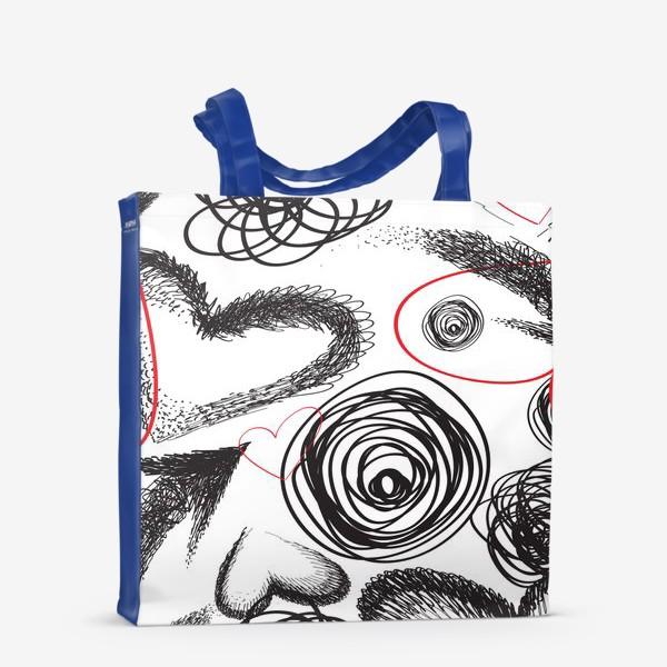 Сумка-шоппер «Дудлы, бесшовная текстура с сердечками»