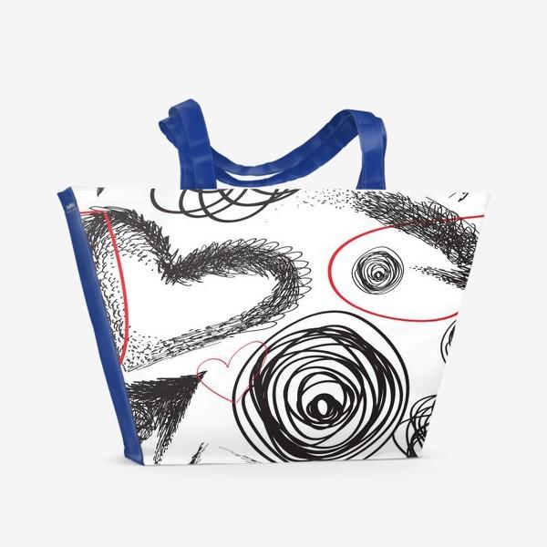 Пляжная сумка «Дудлы, бесшовная текстура с сердечками»