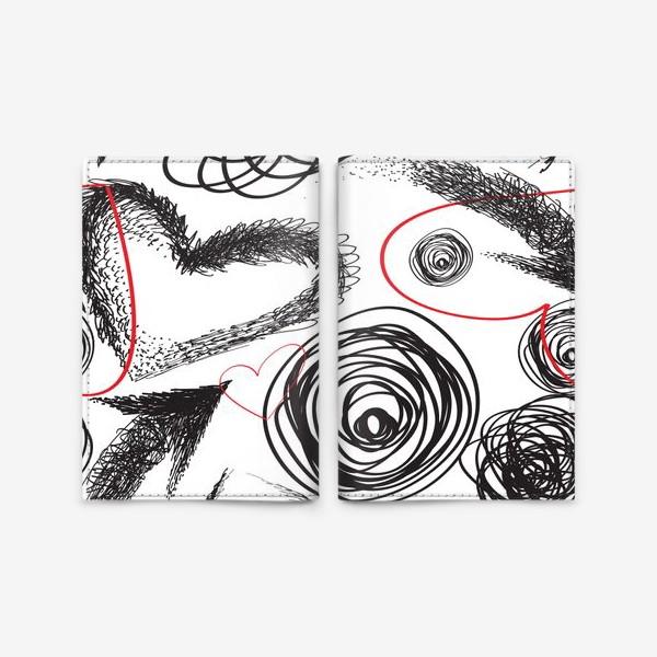 Обложка для паспорта «Дудлы, бесшовная текстура с сердечками»