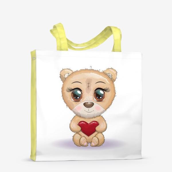 Сумка-шоппер «Милый мишка с красивыми глазами и сердечком, концепт любви»
