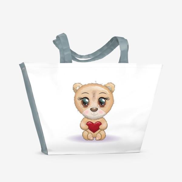 Пляжная сумка «Милый мишка с красивыми глазами и сердечком, концепт любви»