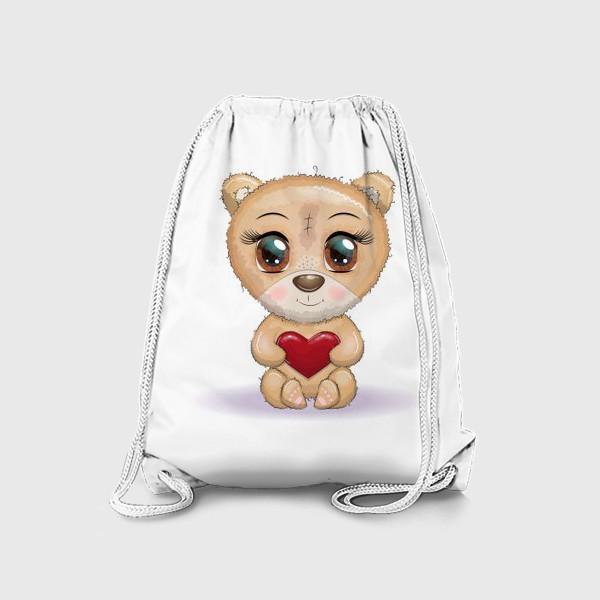 Рюкзак «Милый мишка с красивыми глазами и сердечком, концепт любви»