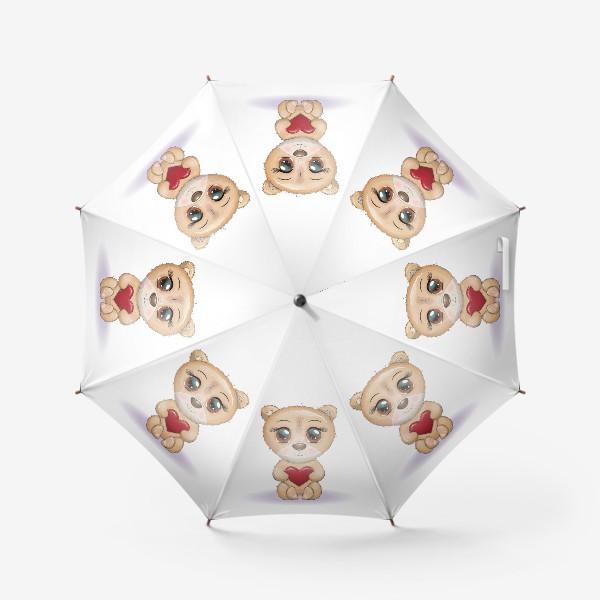 Зонт «Милый мишка с красивыми глазами и сердечком, концепт любви»