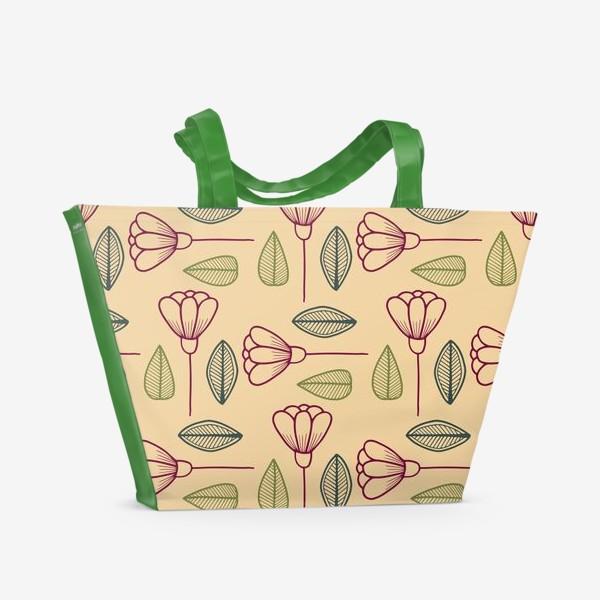 Пляжная сумка «Цветы и листья на бежевом фоне.»