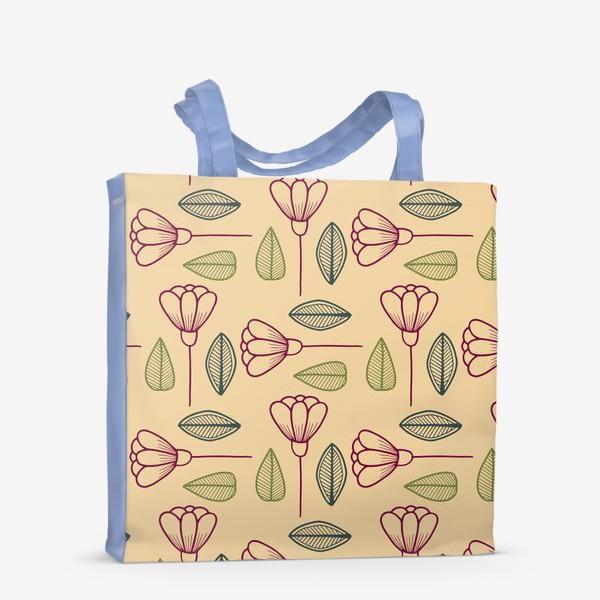 Сумка-шоппер «Цветы и листья на бежевом фоне.»