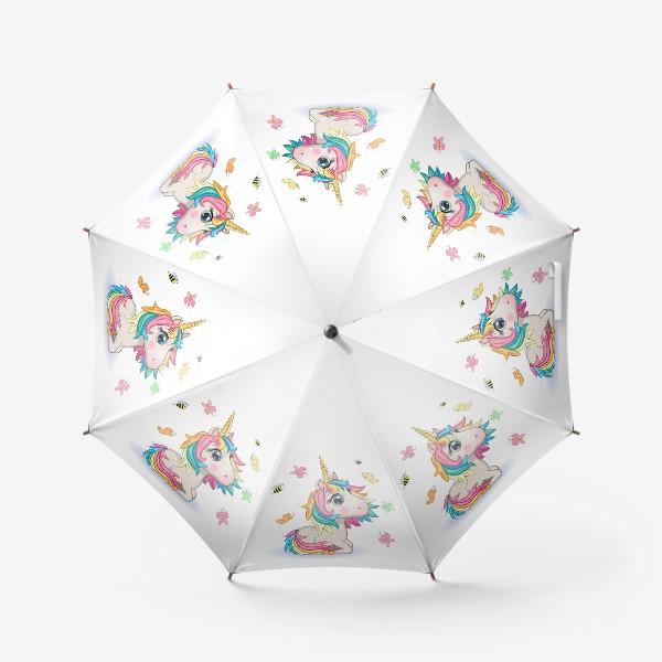 Зонт «Мультяшный единорог с красивыми глазками среди бабочек»