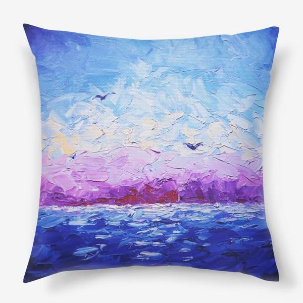 Подушка «Рассвет на море. Картина маслом»