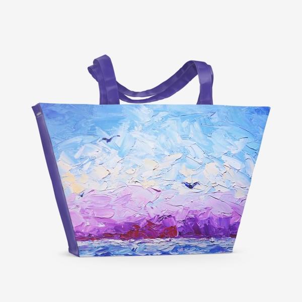 Пляжная сумка «Рассвет на море. Картина маслом»