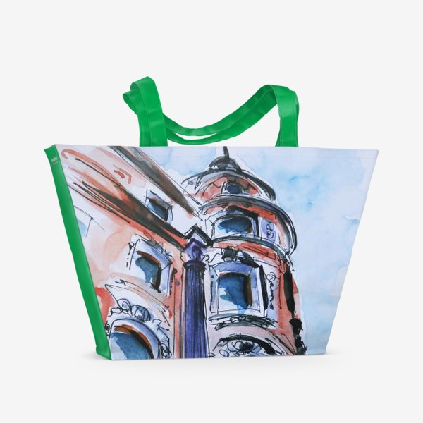 Пляжная сумка «Питер, дом на углу улицы»