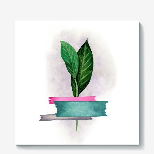 Холст «Тропические листья, закрепленные цветным скотчем»