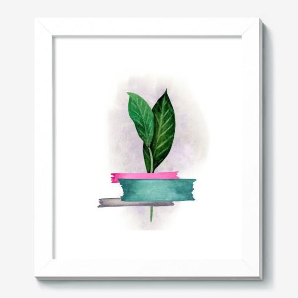 Картина «Тропические листья, закрепленные цветным скотчем»
