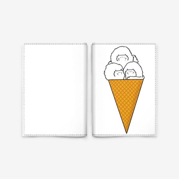 Обложка для паспорта «Мороженое-коты в рожке»
