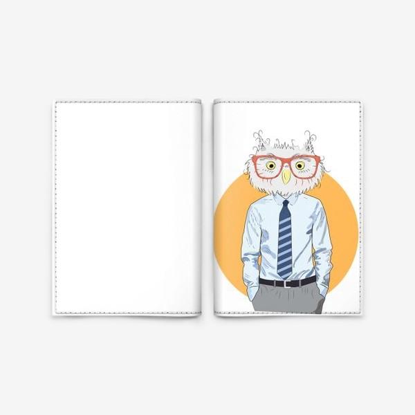 Обложка для паспорта «Мужчина-сова в очках и галстуке, фэшн иллюстрация»