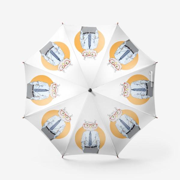 Зонт «Мужчина-сова в очках и галстуке, фэшн иллюстрация»