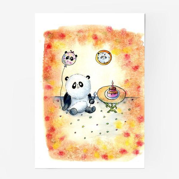 """Постер «Серия """"Счастливые панды"""" панда именинница»"""
