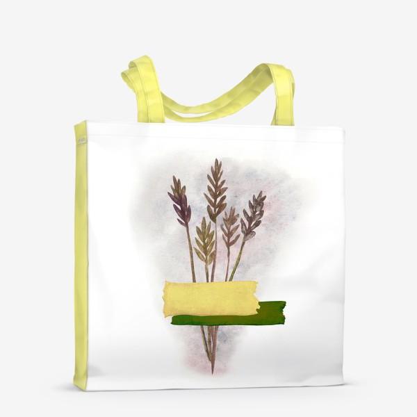 Сумка-шоппер «Милый букетик колосков с желтым и зелёным скотчем»