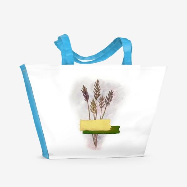 Пляжная сумка «Милый букетик колосков с желтым и зелёным скотчем»