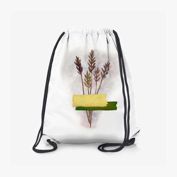 Рюкзак «Милый букетик колосков с желтым и зелёным скотчем»
