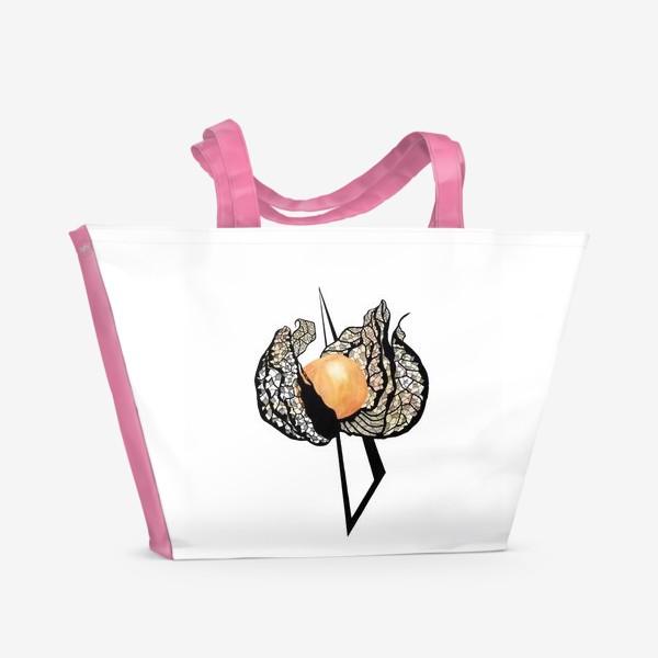 Пляжная сумка «Физалис узор графика»