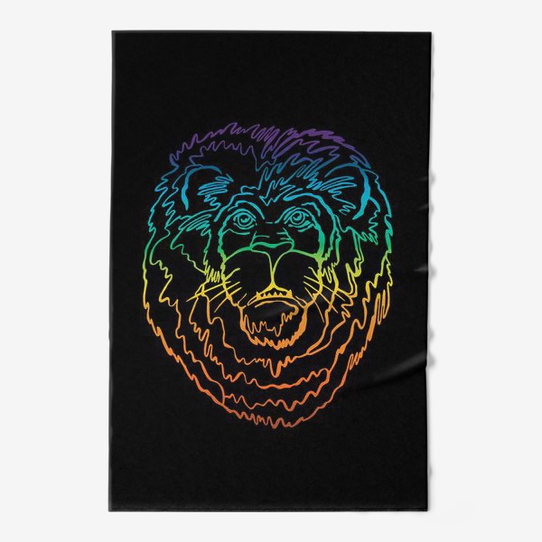 Полотенце «Лев в цвете на черном фоне»