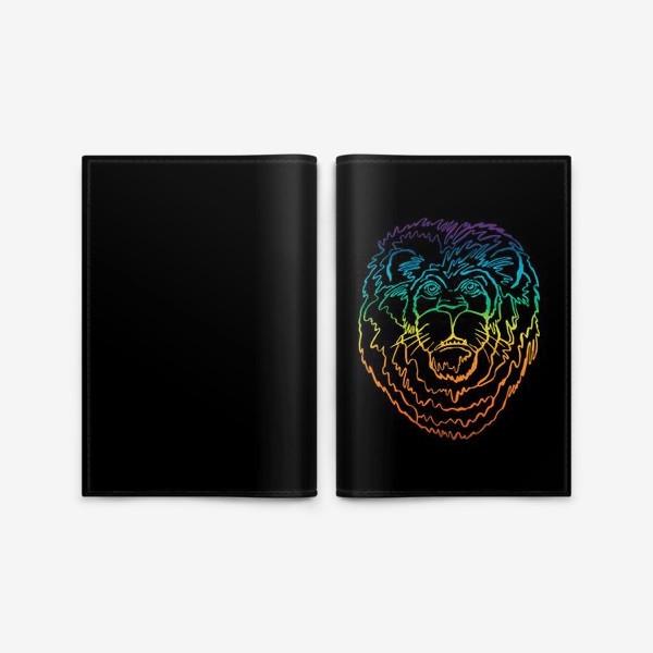 Обложка для паспорта «Лев в цвете на черном фоне»