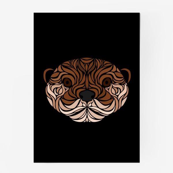Постер «Тотемная Выдра на черном»