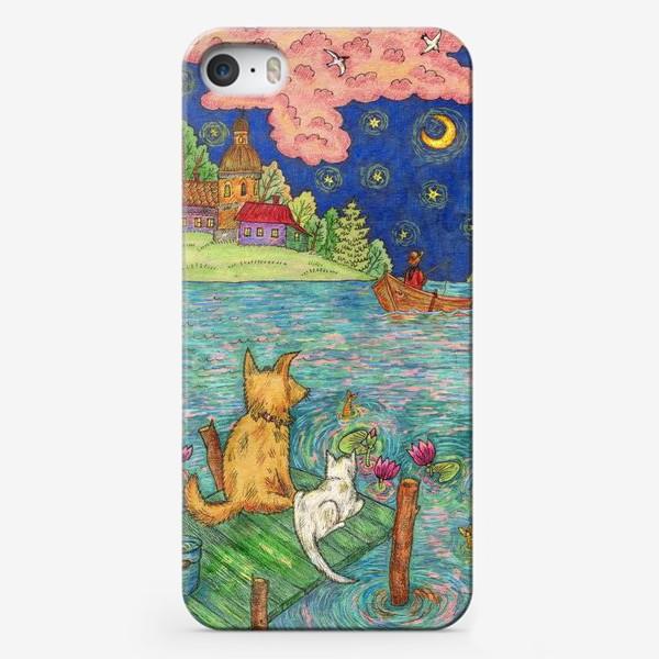 Чехол iPhone «Собака и кот у причала»