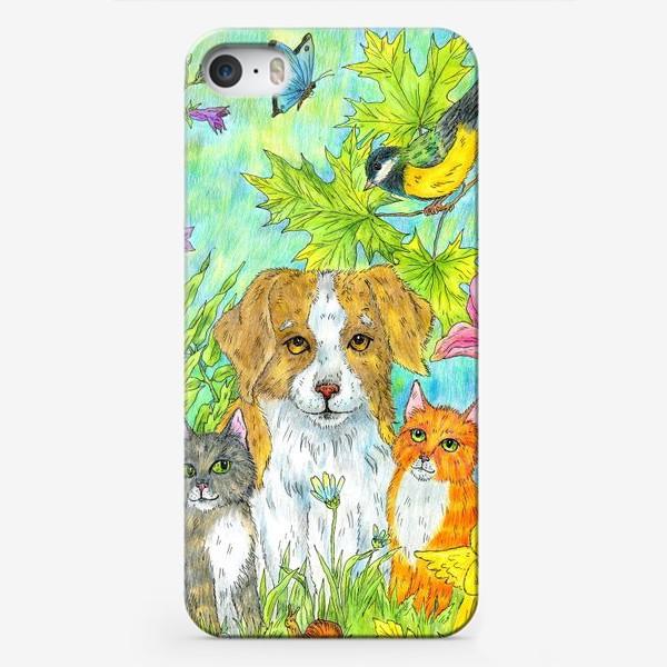 Чехол iPhone «Щенок и котята»