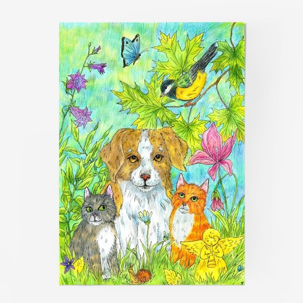 Постер «Щенок и котята»